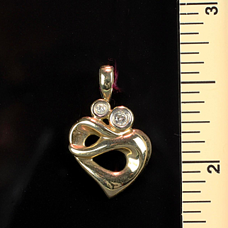 10K Yellow Gold Heart Pendant with 2 Diamonds