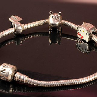 Sterling Silver Pandora Bracelet with 4 Charms