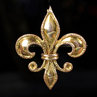 10K Yellow Gold Fleur de Lis Pin / Brooch ( Ladies Pocket Watch Holder )