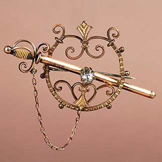 Victorian Gold Filled Sword Pin / Brooch with White Stone