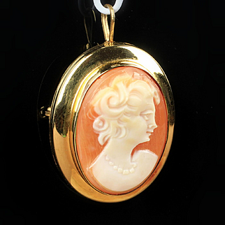 14K Yellow Gold Antique Shell Cameo Pin / Pendant
