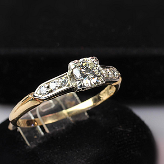 14K Two Tone Gold Diamond Engagement Ring -- 0.50 Carat TW