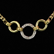 "16"" Long 18K Diamond Curb Link Necklace with 13 Diamonds"