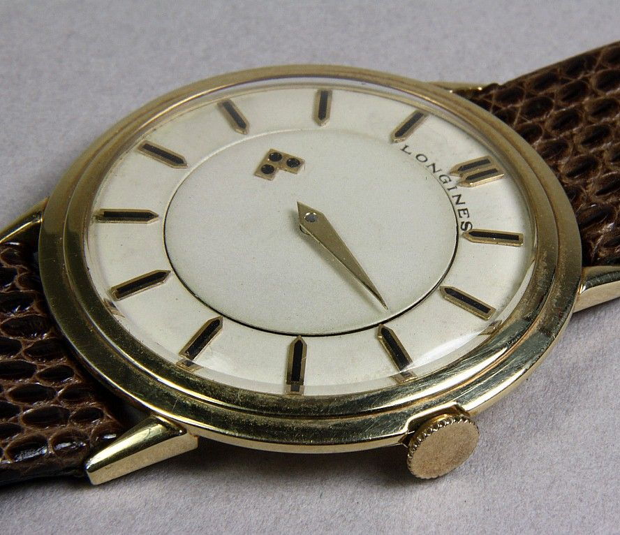 ( ON HOLD **RW) ..Gents 14K Yellow Gold Longines Mystery Dial Wrist Watch