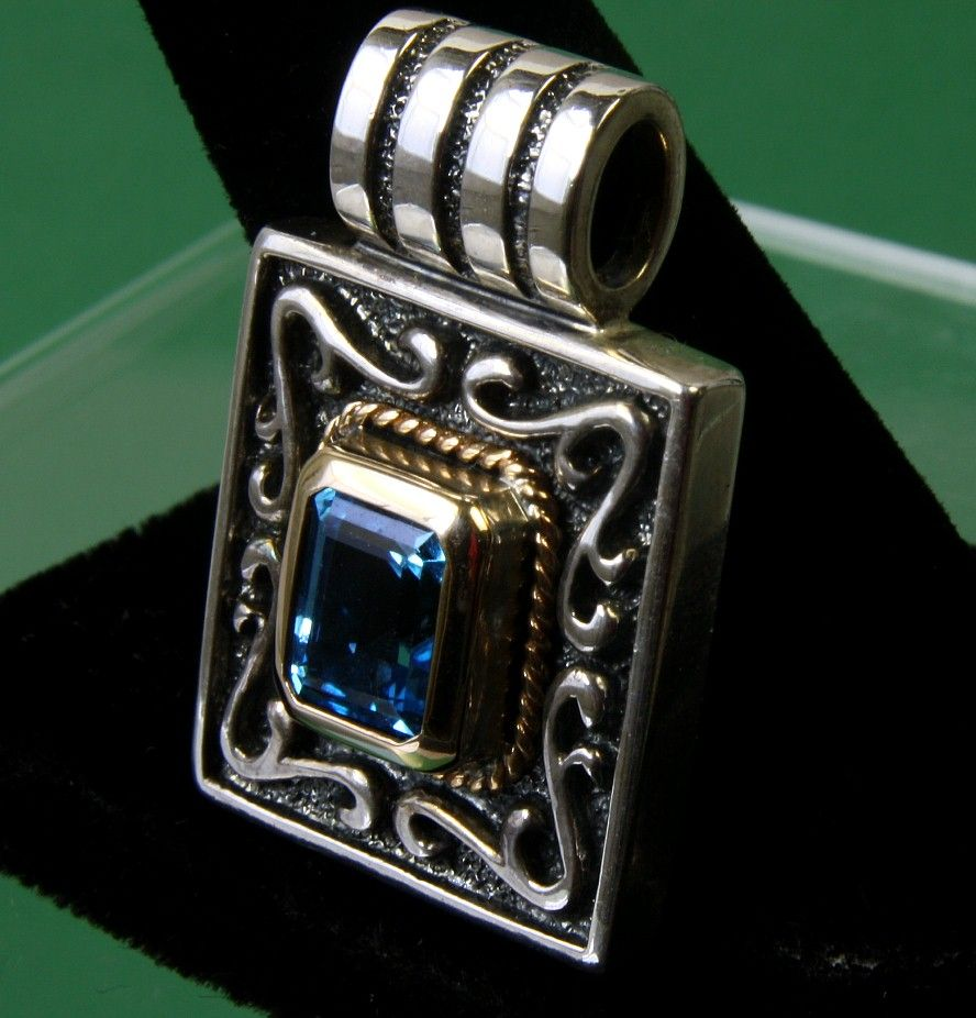 14K & Sterling Square Pendant