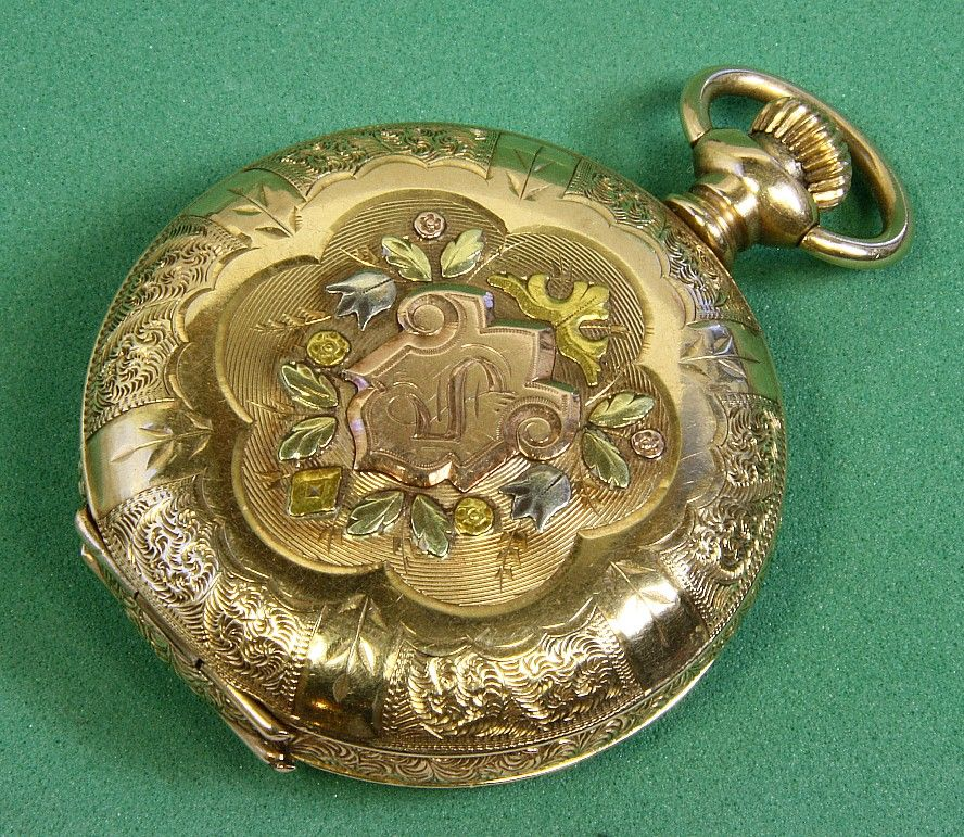 14K Am. Waltham 0 Size Multicolored Gold Pocket Watch
