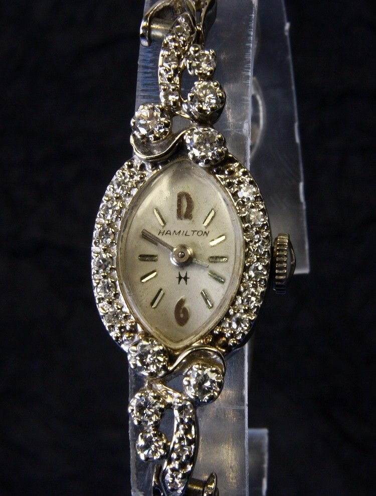 Ladies 14K Hamilton Diamond Wrist Watch - 0.90 Carats TW