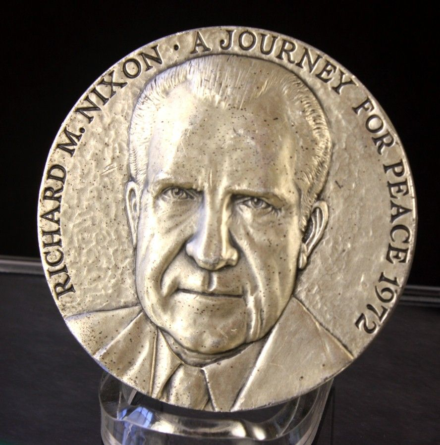 Richard M. Nixon - Journey for Peace, 1972 by Medallic Arts, 5.33 oz .999 Silver