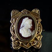 Antique 10K Gold Cameo Pin