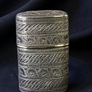 Russian Antique Cigarette Case - Sterling Silver Filigree Russia 19th Century