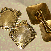 Ca: 1925 Hayden W. Wheeler & Co. 14K Yellow Gold  Deco Cufflinks