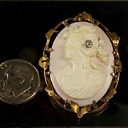 Antique 10K Multi-Color Gold Cameo with Diamond