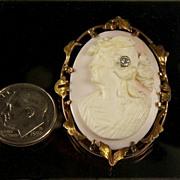 Antique 10K Multi-Color Gold Cameo with Diamond