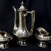 Sterling Silver Reed & Barton Coffee Pot, Sugar, & Creamer
