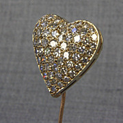 14K Heart Shape Pin with 58 - 2.3 mm diamonds (2 carats tw)