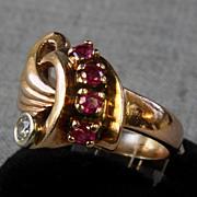 Deco 14K Ring with Rubies & 0.13 ct. Diamond