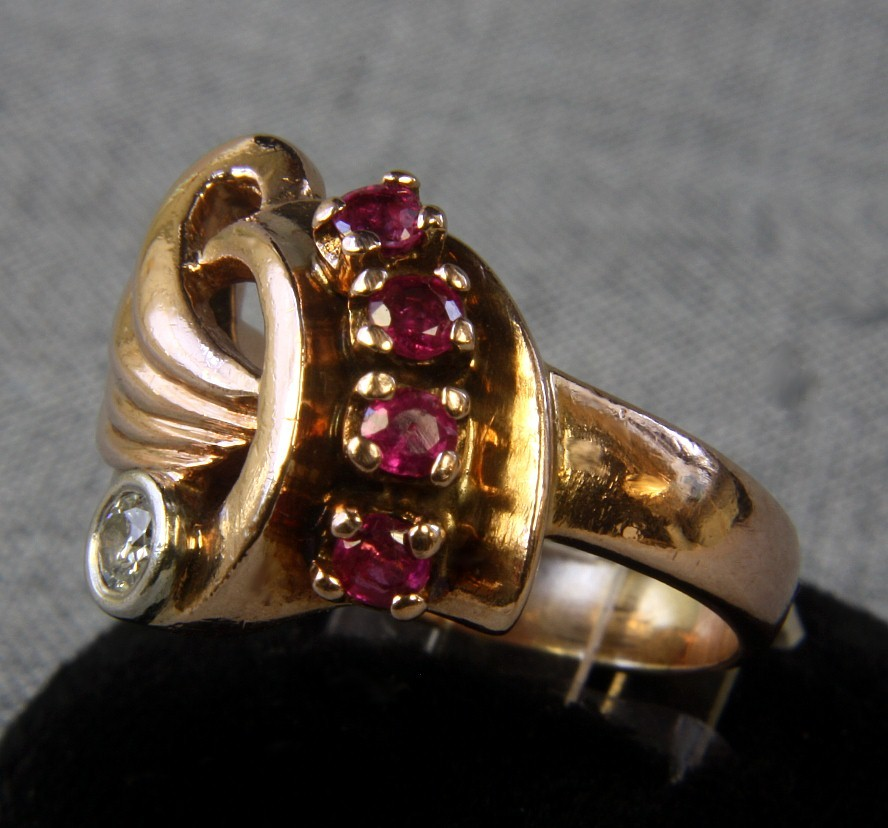 Deco 14K Ring with Rubies & 0.13 ct. Diamond