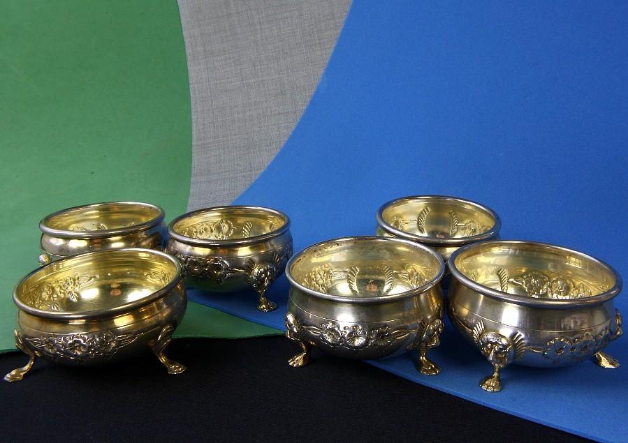 Six Sterling Silver Salts by Baldwin & Miller