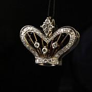 14K White & Yellow Gold Diamond Crown Pendant