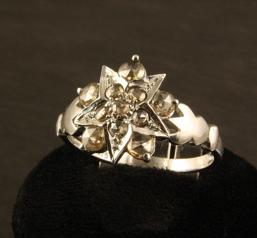 9kt White Gold Rose Cut Diamond Ring