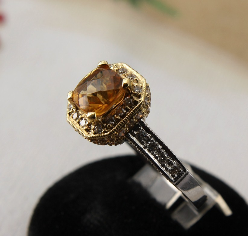18K Two Tone Gold Ring with Diamonds & Citrine