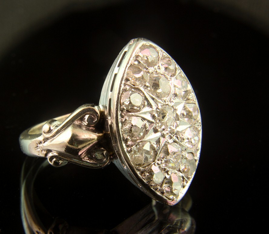 14K White Gold Rose Cut Diamond Ring