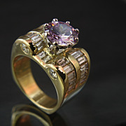 Large 18K & Platinum Diamond Ring with 4.40 Ct. TW