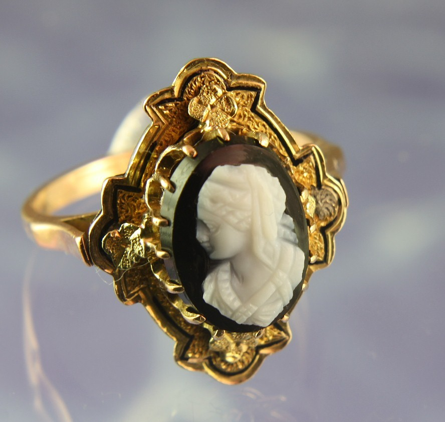 Antique 14K Pink & Green Gold Cameo Ring with Enameling