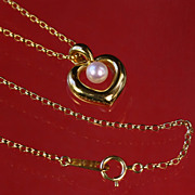Authentic 18K Gold Mikimoto Heart Shape Pearl Pendant & Chain