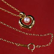 Authentic 18K Gold Mikimoto Heart Shape Pearl Pendant & Chain