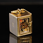 14K Gold Charm with Playing Cards inside