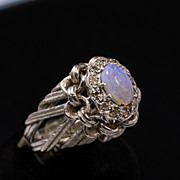 14K White Gold Opal & Diamond Ring