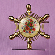 14K Gold Ship's Wheel Pin / Brooch with Hand Painted Floral Scene