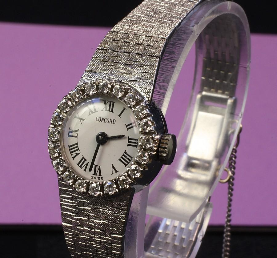 Ladies 14K White Gold Concord Wrist Watch with Diamond Dial