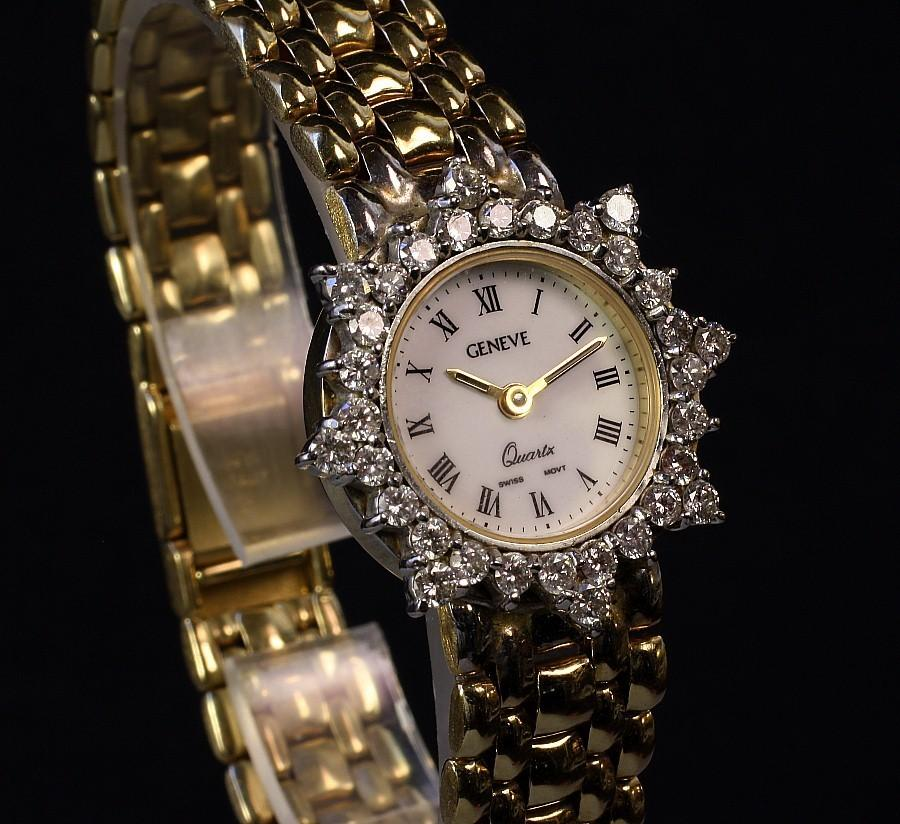 14K Gold Ladies Geneve 1.50 Carat  Diamond Wrist Watch