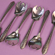 Six Sterling Normandie Pattern by Wallace Ice Cream Forks