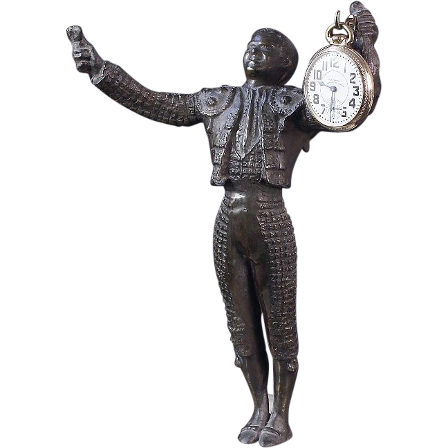 11 Inches Tall -Matador Statue Pocket Watch Holder