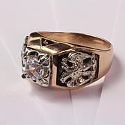 14K Masonic Shriner 32nd Degree Ring with White Topaz