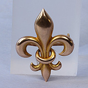 Antique 10K Gold Fleur de Lis Pin - Pocket Watch Holder -
