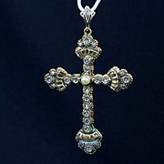 Hand Made Victorian Two Tone Gold Cross with Pearl & Diamond Chips