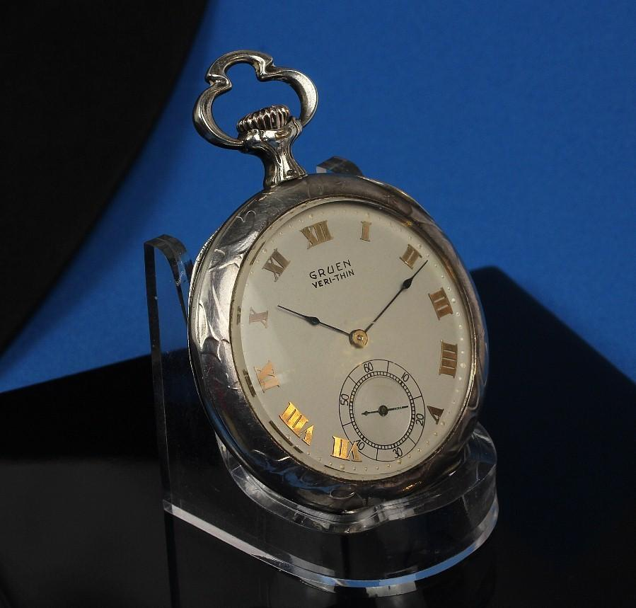 "Rare Sterling Gruen ""Verithin"", 21 Jewel Chronograph Pocket Watch, Case by Huguenin Brothers"
