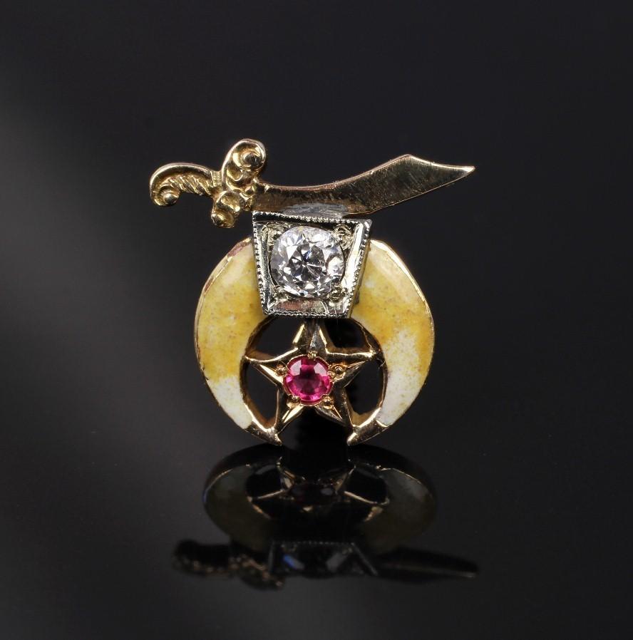 Enameled 14K & Diamond Shriner's Masonic Scimitar & Crescent Pin
