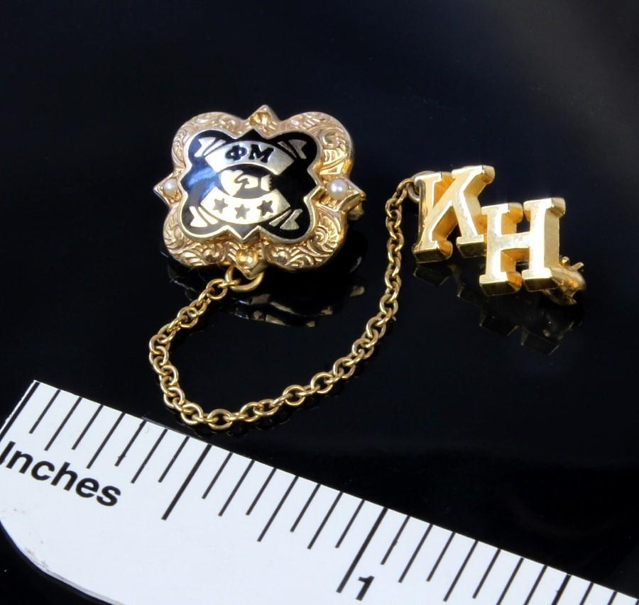 10K Gold Enameled Phi Mu Sorority Pin