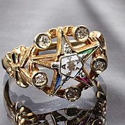 10K Masonic Eastern Star Diamond Ring