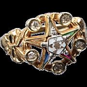 10K Masonic Eastern Star Diamond Ring