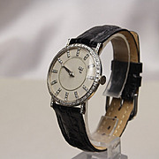 1950's Longines 18K White & Diamond Mystery Dial Watch