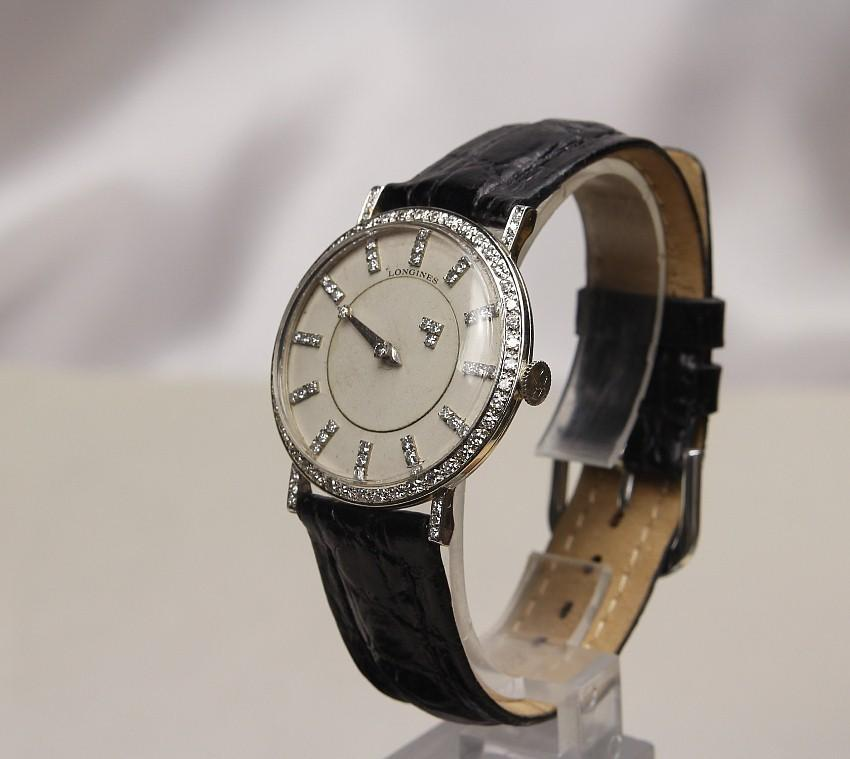 1950's Longines 18K White & Diamond Mystery Dial Watch