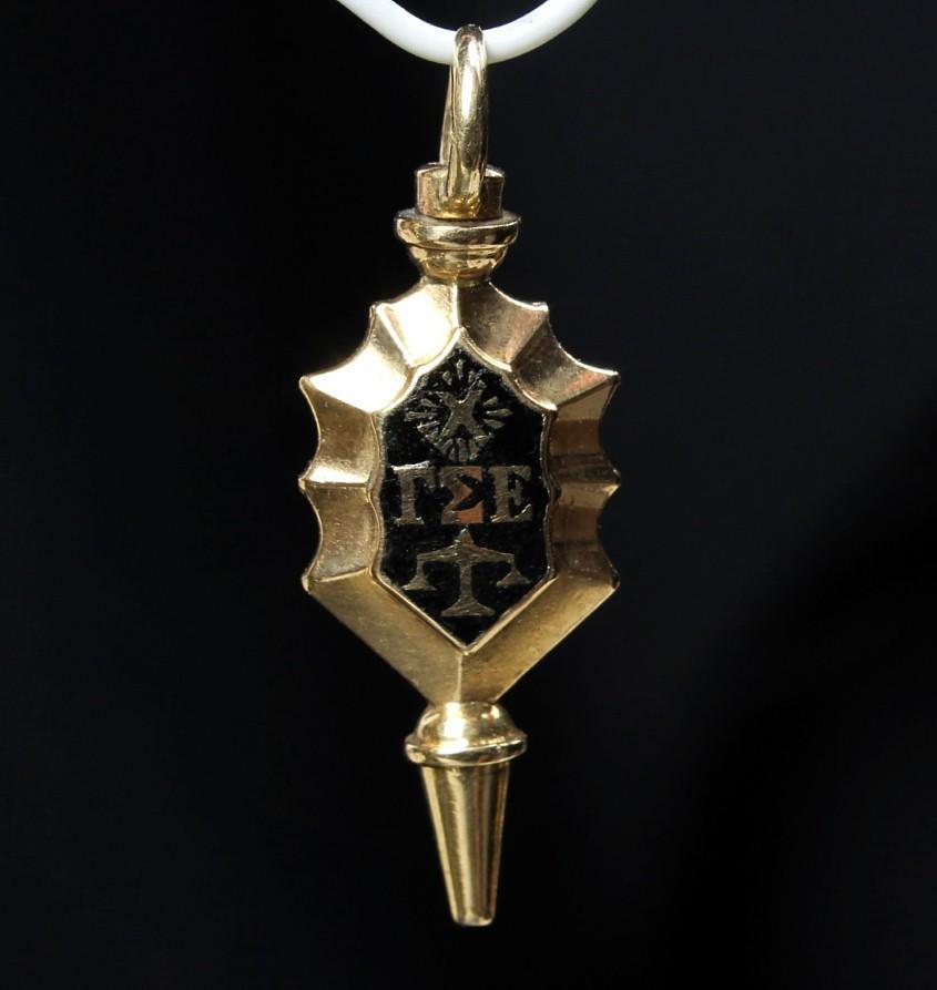 14K Gold Gamma Sigma Epsilon Fraternity Pendant, Circa 1947