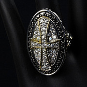 "Large Sterling & Gold Plated ""Cross"" Ring with CZ's"