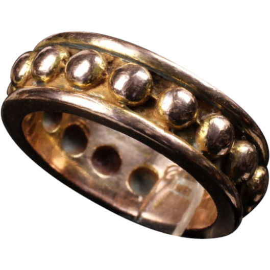 """14K Rose Gold Mignon Faget """"Beaded"""" Ring From Goodbee On"""